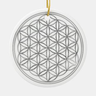 Flower Of Live / silver Ceramic Ornament