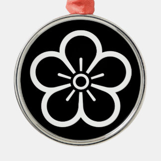 Flower of medium shade plum Silver-Colored round ornament