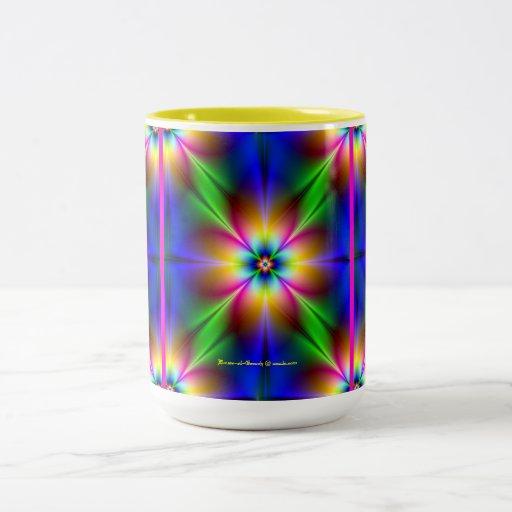 Flower of Neon Power Design in Blue/Pink Coffee Mug