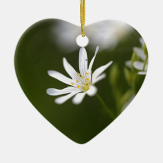 Flower of the  greater stitchwort ceramic heart ornament