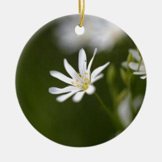 Flower of the  greater stitchwort round ceramic ornament