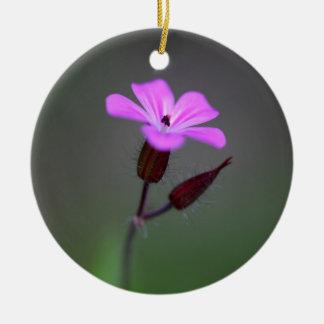 Flower of the Herb-Robert, Geranium robertianum. Round Ceramic Ornament