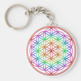Flower of the life basic round button keychain