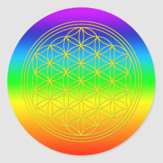 Flower of the life chakra 2 classic round sticker