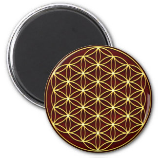 Flower of the life - Flower OF life - gold 2 Inch Round Magnet