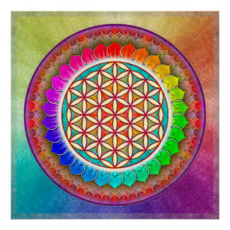 Flower of the life - Regenbogenlotos I Poster