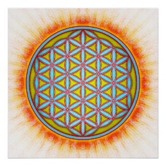 Flower of the life - winter sun poster