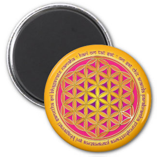 Flower of the life with Moola mantra 2 Inch Round Magnet