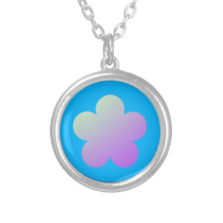 Flower on a blue background. silver plated necklace