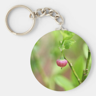 Flower on a European Blueberry bush Basic Round Button Keychain