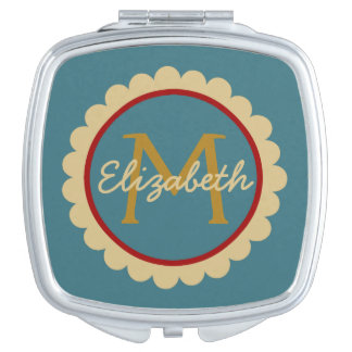Flower on Blue Monogram Compact Mirror