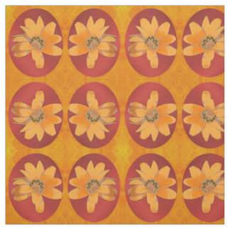 Flower on Red and Orange Fabric