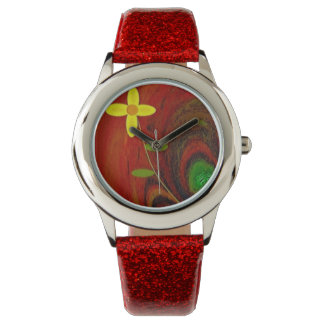 """""""Flower Out of Tree Stump"""" Red Glitter Girls Watch"""