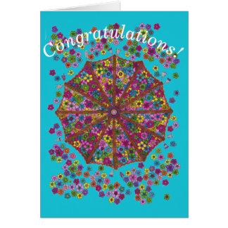 Flower Parasol Congratulations Card