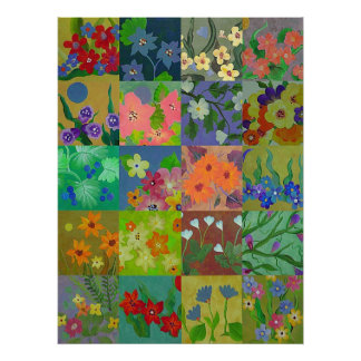 Flower Patchwork Squares Print Poster