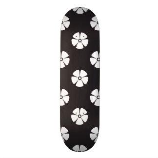 Flower Pattern 2 Black and White Skateboard Decks