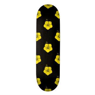 Flower Pattern 3 Yellow Skateboard Deck