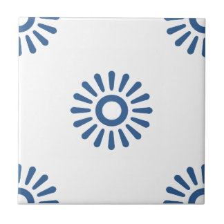 Flower Pattern 6 Bright Cobalt Ceramic Tiles