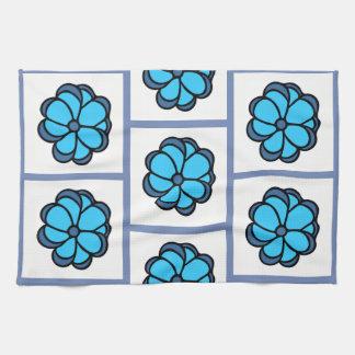 Flower Pattern Dishtowel - Blue Kitchen Towel