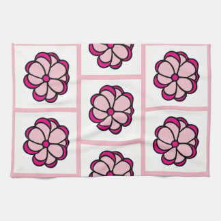 Flower Pattern Dishtowel - Pink Kitchen Towel