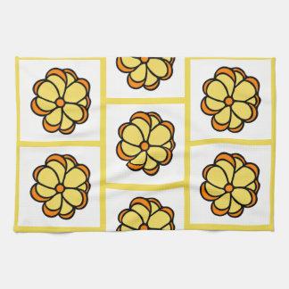 Flower Pattern Dishtowel - Yellow Kitchen Towel