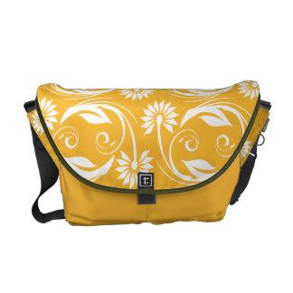 Flower pattern elegant floral swirl courier bag