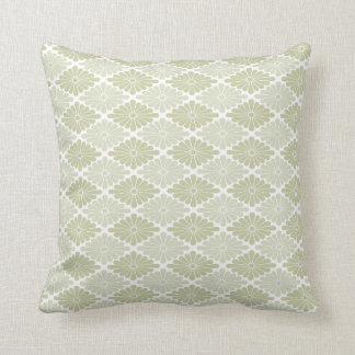Flower Pattern in Shades of Sage Throw Pillow