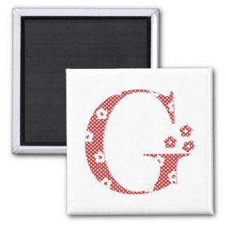Flower Pattern Letter G(red) Square Magnet