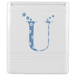 Flower Pattern Letter U(blue)
