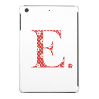 flower Patterned Letter E red & dots) iPad Mini Cover