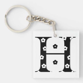 flower Patterned Letter H Single-Sided Square Acrylic Keychain