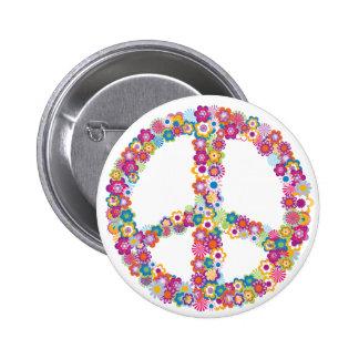 Flower Peace Sign Pinback Button