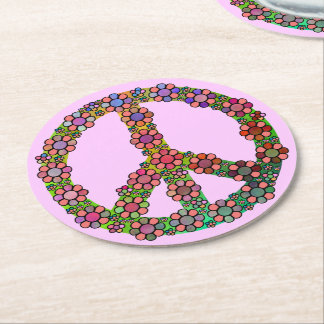 Flower Peace Sign Symbol Floral Pink Round Paper Coaster