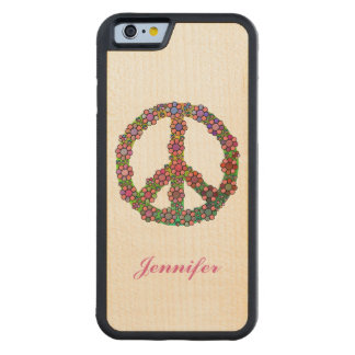 Flower Peace Sign Symbol Personalized Maple iPhone 6 Bumper Case
