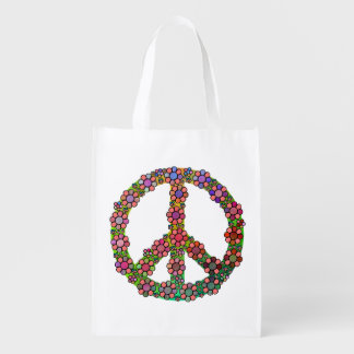 Flower Peace Sign Symbol Pretty Reusable Grocery Bag
