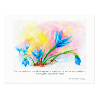 Flower pencil hand-drawn illustration postcard