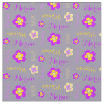 Flower personalized name text purple grey fabric