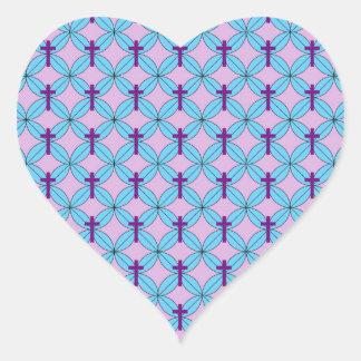 Flower Petal Cross Heart Sticker