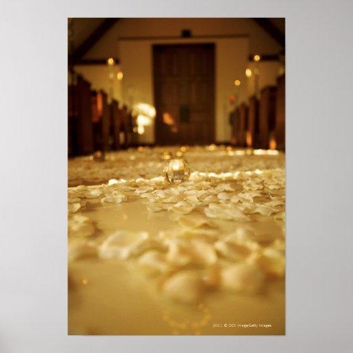 Flower petals on floor of church print