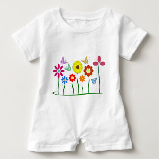 Flower picture baby romper