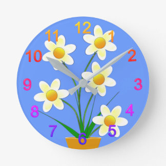 Flower picture round clock