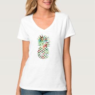 Flower Pineapple Tropical Print T-Shirt