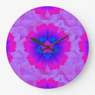 Flower pink blue  purple backround art  tiled 1 large clock