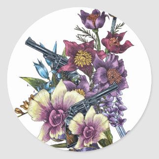 Flower Pistol Guns Design Classic Round Sticker