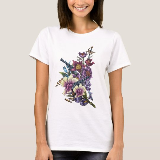 Flower Pistol Guns Design T-Shirt