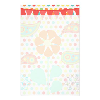 Flower Polka Dots Paisley Spring Whimsical Gifts Customized Stationery