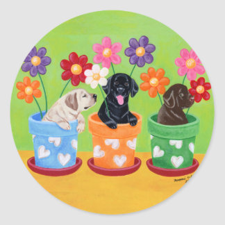 Flower Pot Labrador Puppies Classic Round Sticker