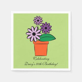 Flower Pot Purple Daisies Personalized Disposable Napkin