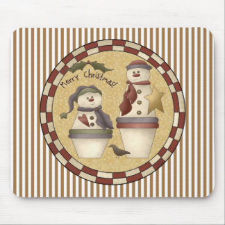 Flower Pot Snowmen Mouse Pad