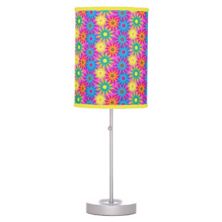 Flower Power 1960s Colorful Hippie Modern Chic Table Lamp